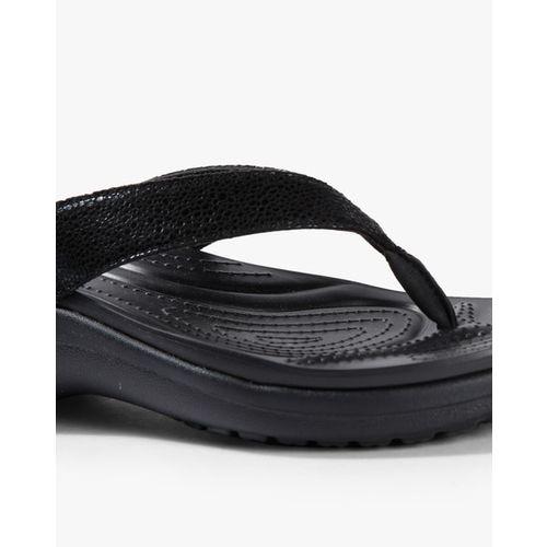 CROCS Capri Metallic Texture Wedge Flip-Flops