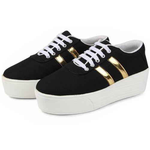 World Wear Footwear 1044 Sneakers For Women(Black, Gold)