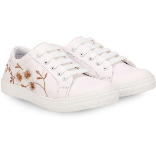 FASHIMO FASHIMO Embroidery Sneaker's Sneakers For Women(White)