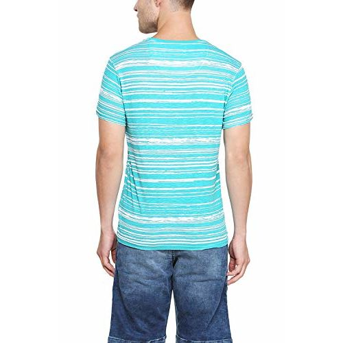 Allen Solly Striped Men Round or Crew Blue T-Shirt