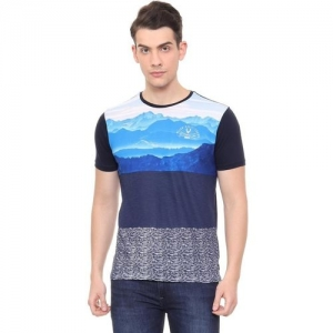 Allen Solly Printed Round or Crew Blue T-Shirt