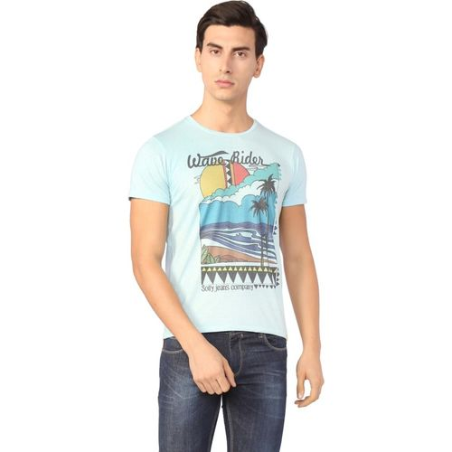 Allen Solly Graphic Print Men Round or Crew Blue T-Shirt