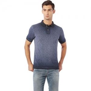 Allen Solly Printed Polo Neck Blue T-Shirt