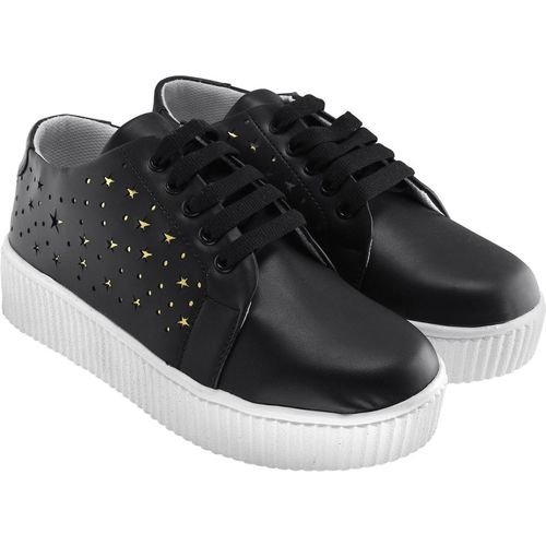 Zapatoz Perfect Stylish Black Sneakers Shoes For Women Sneakers For Women(Black)