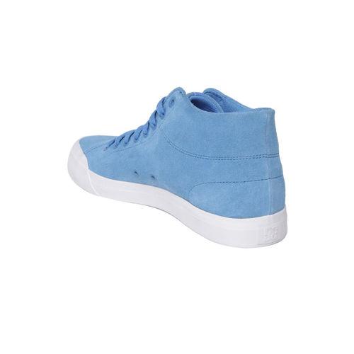 DC Men Blue Solid Suede Mid-Top Sneakers
