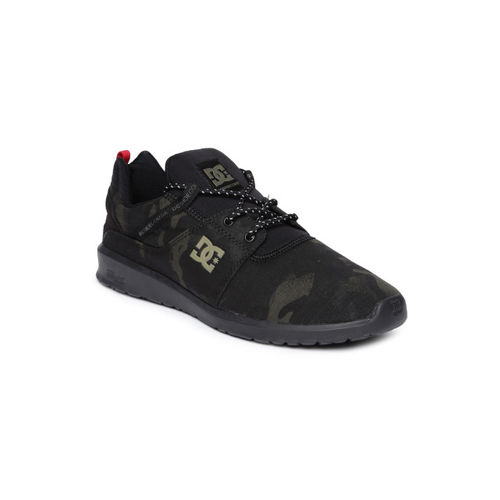 DC Men Black & Olive Green Camouflage Print Sneakers