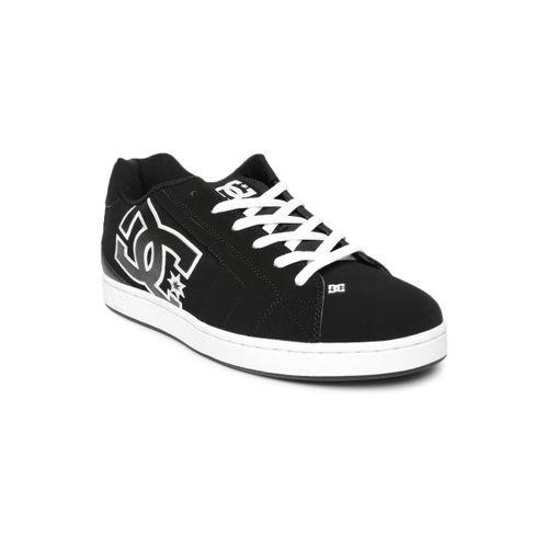 DC Men Black Net Suede Sneakers