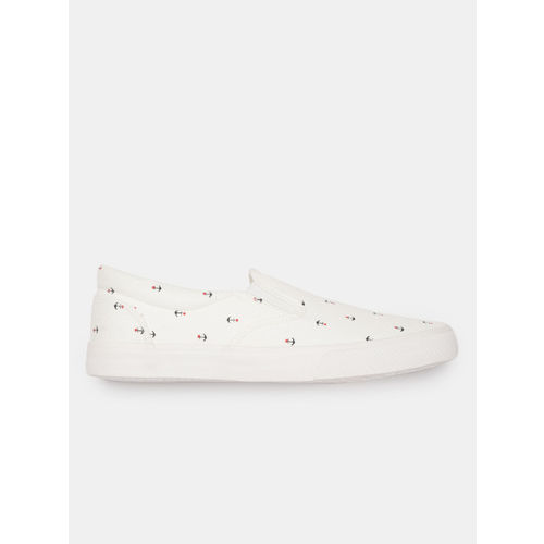 Mast & Harbour Men White Printed Slip-On Sneakers