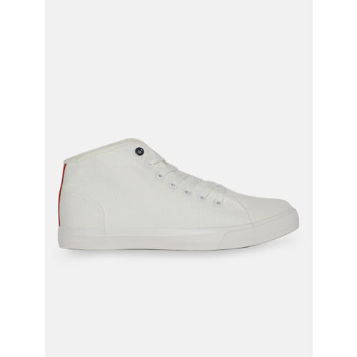 Mast & Harbour Men White Solid Canvas Mid-Top Sneakers