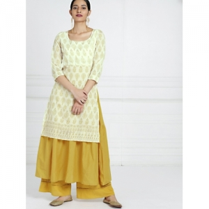 all about you Women Off-White & Mustard Printed A-line Kurta