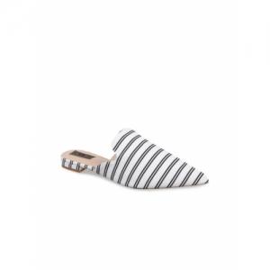 Flat n Heels White & Black Striped Mules