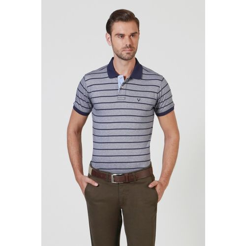 Allen Solly Striped Men Polo Neck Dark Blue T-Shirt