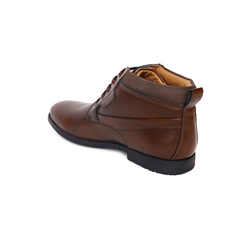 San Frissco Men Brown Solid Mid-Top Flat Boots