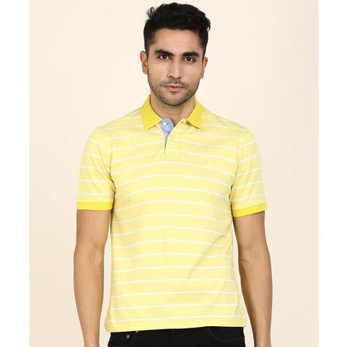 Allen Solly Striped Men Polo Neck Yellow T-Shirt