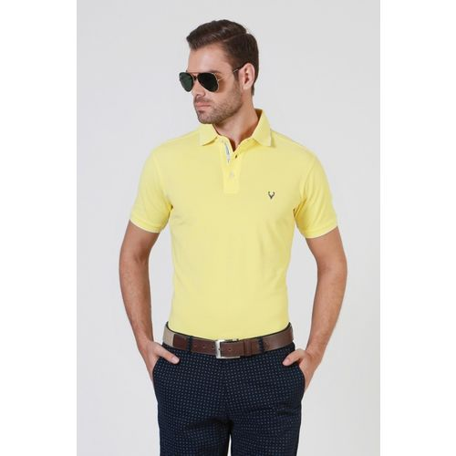 Allen Solly Solid Men Polo Neck Yellow T-Shirt