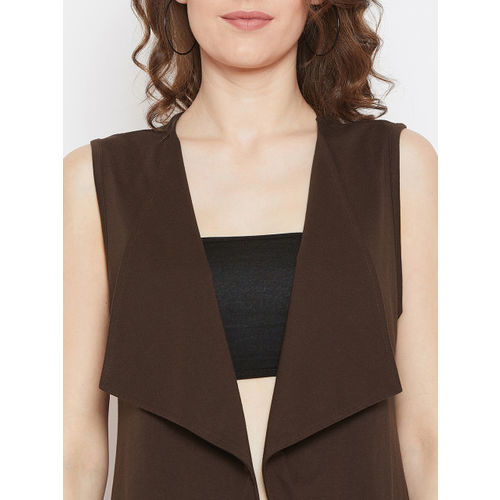 Hypernation Women Brown Solid Longline Open Front Shrug