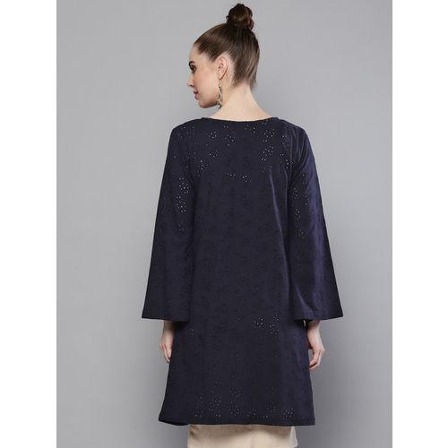 Trend Arrest Women Navy Blue Schiffli Embroidered Open Front Longline Shrug