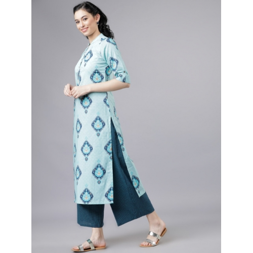 Vishudh Blue Printed Kurta with Palazzos