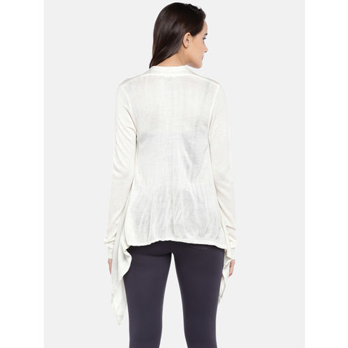Globus Women White Solid Tie-Up Shrug