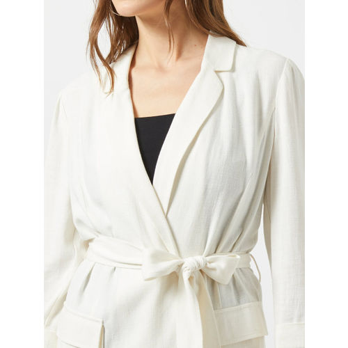 DOROTHY PERKINS Off-White Solid Open Front Shrug