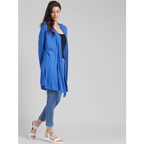 Trend Arrest Blue Solid Open Front Shrug