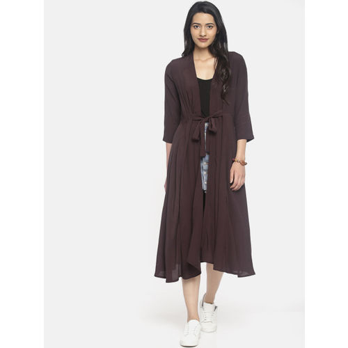 CODE by Lifestyle Brown Solid Tie-Up Longline Shrug