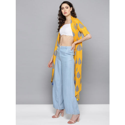 STREET 9 Yellow & Blue Printed Open Front Longline Shrug