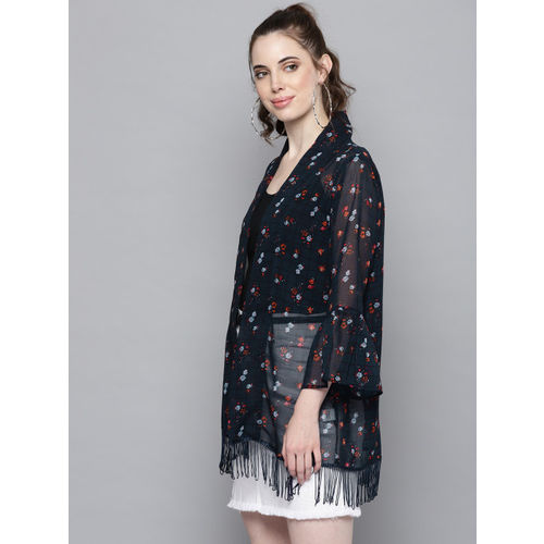 Trend Arrest Navy Blue & Orange Printed Open Front Shrug