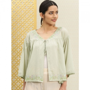 House of Pataudi Green Embroidered Tie-Up Shrug