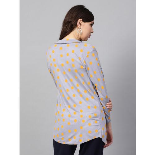 SASSAFRAS Grey & Mustard Yellow Polka Dots Print Open Front Shrug