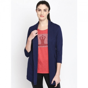 Ajile by Pantaloons Blue & Red Solid Open Front Shrug