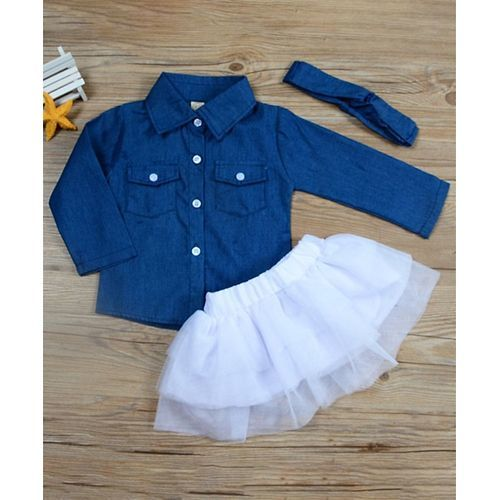 Pre Order - Awabox Solid Full Sleeves Shirt With Headband & Skirt - Blue