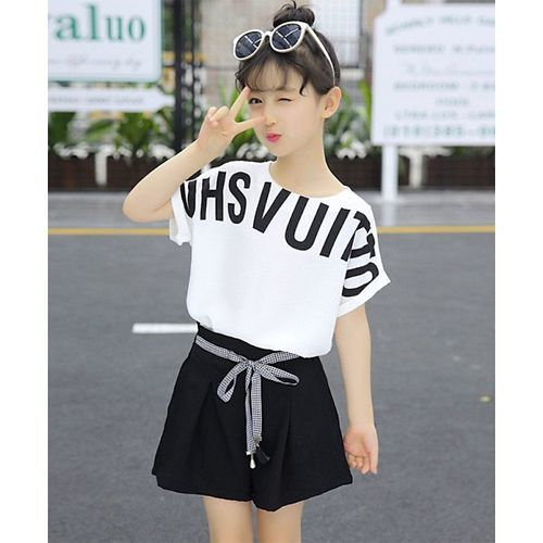 Pre Order - Awabox Printed Half Sleeves T-Shirt With Shorts - White & Black