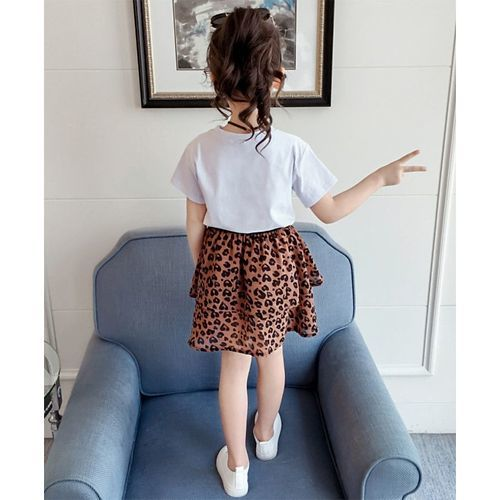 Pre Order - Awabox Leopard Print Half Sleeves Top & Layered Skirt Set - White