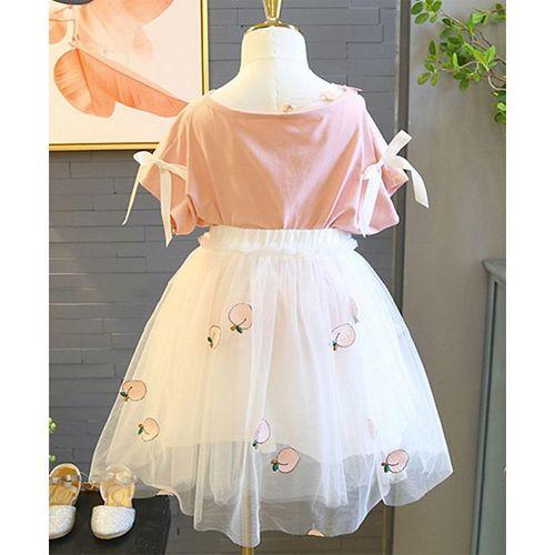 Pre Order - Awabox Peach Printed Half Sleeve Tee & Tulle Flare Skirt Set - Light Pink