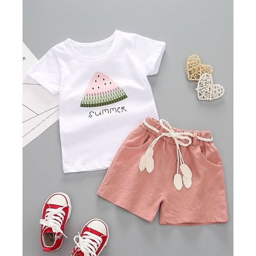 Pre Order - Awabox Watermelon Printed Half Sleeves Tee & Shorts Set - Pink