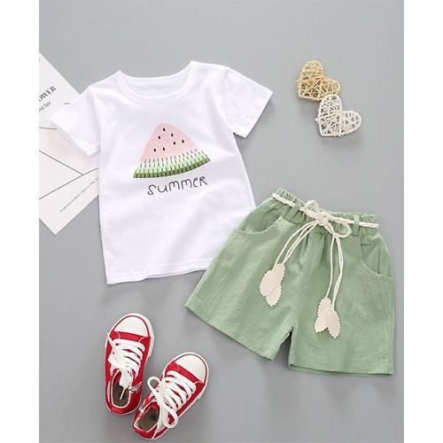 Pre Order - Awabox Watermelon Printed Half Sleeves Tee & Shorts Set - White