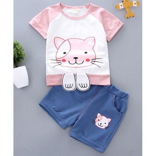 Pre Order - Awabox Cat Printed Half Sleeves Tee & Shorts Set - Light Pink