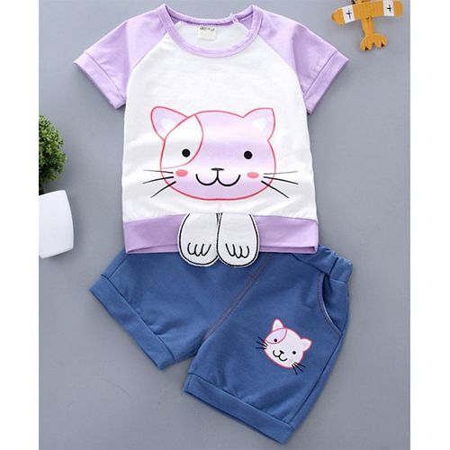 Pre Order - Awabox Cat Printed Half Sleeves Tee & Shorts Set - Purple