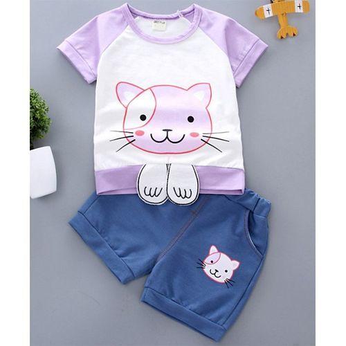 Pre Order - Awabox Cat Printed Half Sleeves Tee & Shorts Set - Purple