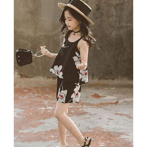 Pre Order - Awabox Flower Printed Sleeveless Top With Shorts - Black
