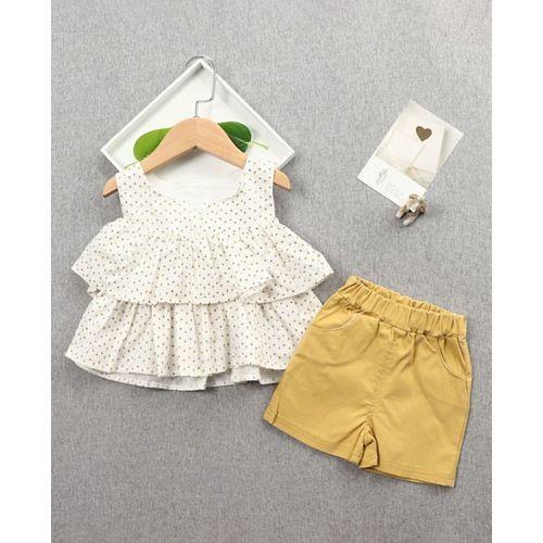 Pre Order - Awabox Sleeveless Layered Top & Shorts Set - Yellow