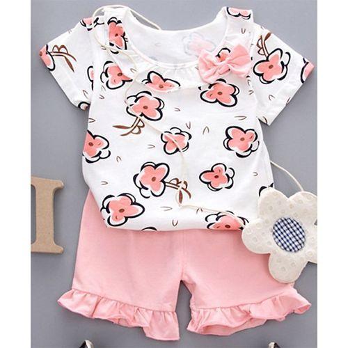 Pre Order - Awabox Flower Printed Half Sleeves Top & Shorts Set - Pink