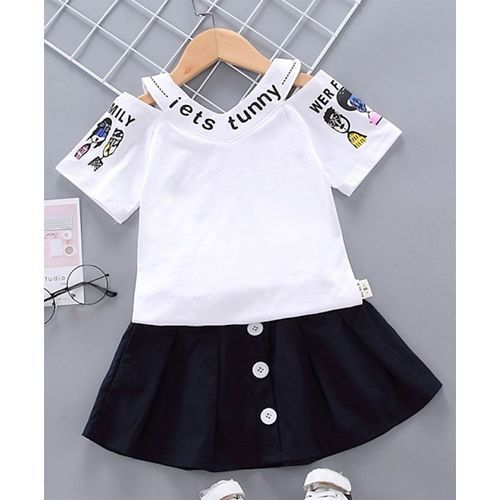 Pre Order - Awabox Half Sleeves Text Print Top With Skirt - White & Blue