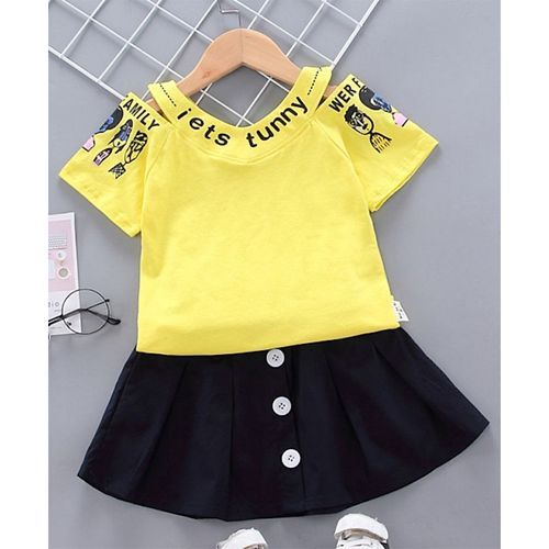 Pre Order - Awabox Half Sleeves Text Print Top With Skirt - Yellow & Blue