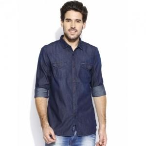 Being Human Navy Blue Slim Fit Denim Shirt