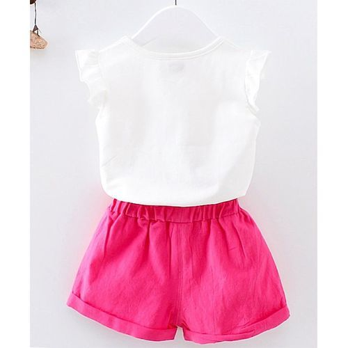 Pre Order - Awabox Rose Patch Work Short Sleeves Top With Shorts - Dark Pink