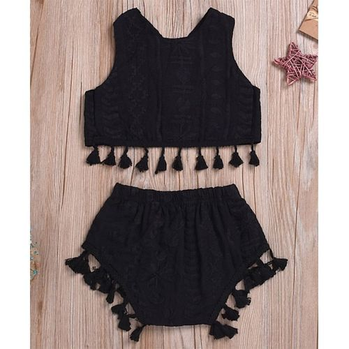 Pre Order - Awabox Sleeveless Embroidered Top With Tassel Detailed Shorts - Black