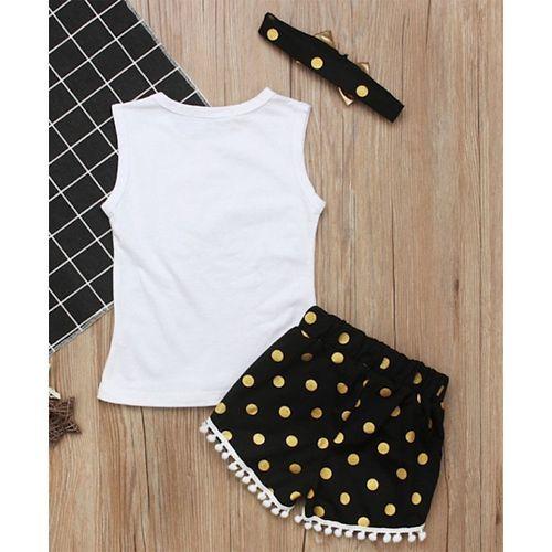 Pre Order - Awabox Feather Printed Sleeveless T-Shirt & Shorts With Headband Set - White & Black