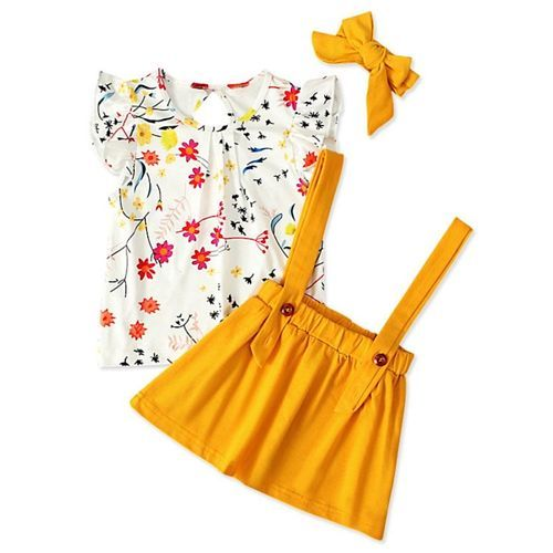 Pre Order - Awabox Flower Printed Short Sleeves Top & Skirt With Headband Set - Yellow & White